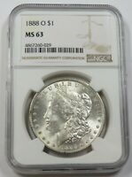 1888-O NGC MINT STATE 63 MINT STATE SILVER MORGAN DOLLAR $1 US COIN ITEM 29647A