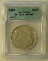 MS 61 SLAB BELGIAN CONGO SILVER AFRICAN ELEPHANT 50 FRANCS COIN OF 1944 KM  27