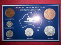 1963 AUSTRALIAN PRE DECIMAL 6 COIN SET IN SPECIAL CARD  VERY NICE A PERFECT GIFT