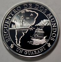 2002 PARAGUAY LARGE PROOF SILVER 1 GUARANI MEETING OF 2 WORLDS IBEROAMERICAN