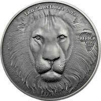 LION HEAD SILVER OUNCE 2013   GHANA 5 CEDIS ANTIQUE FINISH 1 OZ .999 SILVER COIN