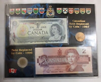 COLLECTIBLE CANADIAN MIXED DOLLAR SET   BILLS AND COINS   UNCIRCULATED