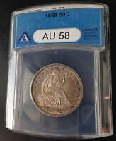 1868 P  SEATED LIBERTY HALF  ANACS   AU 58  RARITY RATES WITH THE 1873 CC