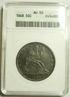 1868 P  SEATED LIBERTY HALF  ANACS  AU 50  RARITY RATES WITH THE 1873 CC