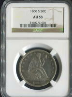 1860 S SEATED LIBERTY HALF NGC AU 53 WB 101