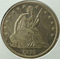 1877 CC SEATED LIBERTY HALF DOLLAR SHIPS FOR FREE T15