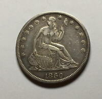 1860 S  SEATED LIBERTY HALF   XF