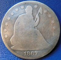 1867 SEATED LIBERTY HALF DOLLAR GOOD G 50C US TYPE COIN T700