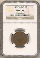 1865 TWO CENT MINT STATE 65BN NGC.  RPD GLOSSY BROWN FANCY FIVE.