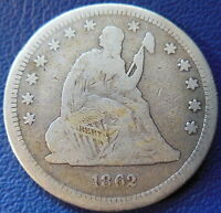 1862 SEATED LIBERTY QUARTER GOOD VG US COIN  25C T283