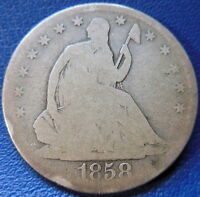 1858 S SEATED LIBERTY HALF DOLLAR GOOD G US TYPE COIN 50C T350