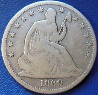 1869 SEATED LIBERTY HALF DOLLAR GOOD VG US TYPE COIN 50C T393