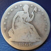 1860 O SEATED LIBERTY HALF DOLLAR GOOD TO GOOD US TYPE COIN 50C T473