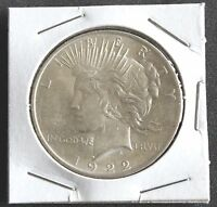 1922P PEACE DOLLAR  GEM UNCIRCULATED 90 SILVER COIN MINTED IN PHILADELPHIA