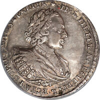 RUSSIA 1721 PETER I SILVER ROUBLE PCGS GENUINE