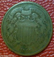 OLD U.S COIN1865 TWO CENT PIECE GG97
