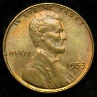 1953 D LINCOLN WHEAT CENT PENNY AU ALMOST UNCIRCULATED B01
