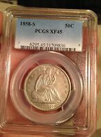 1858 S LIBERTY SEATED HALF DOLLAR PCGS XF45
