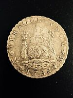1736 MEXICO 8 REALES SALVAGED FROM 1739 DUTCH SHIPWRECK ROOSWIJK   .917 FINE SIL