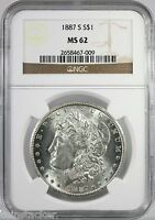 1887-S MORGAN S$1 NGC CERTIFIED MINT STATE 62 MINT STATE GRADED SAN FRANCISCO SILVER COIN