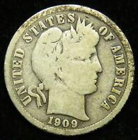 1909 90 SILVER BARBER LIBERTY HEAD DIME VG GOOD B01