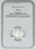 1883 LIBERTY V NICKEL NO CENTS NGC MS 66