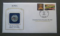 2004 COLORIZED IOWA STATE QUARTER & STATE STAMP COVER GREAT GIFT