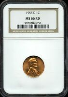 1955 D LINCOLN WHEAT CENT PENNY 1C. MS 66 RD BY NGC 3078289 053