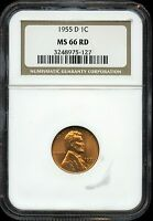 1955 D LINCOLN WHEAT CENT PENNY 1C. MS 66 RD BY NGC 3248975 127