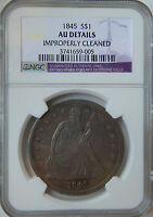 1845 SEATED DOLLAR $1 AU DETAILS NGC LOOK!