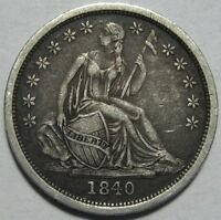 1840 XF SEATED DIME SUPER COLOR & EYE APPEAL