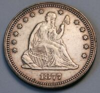 1877 P CHOICE XF/AU SEATED LIBERTY SILVER QUATER DOLLAR 25C ESTATE COIN