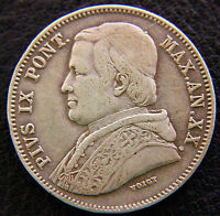 ITALY PAPAL STATES   VATICAN CITY  1865 R  20 BAIOCCHI DOUBLING SILVER CROWN