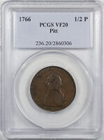 1766 PITT TOKEN 1/2 PENNY PCGS VF 20 WHOLESOME EXAMPLE OF THIS  ISSUE