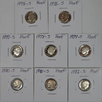 LOT OF 8 PROOF ROOSEVELT DIMES.1975 1982