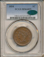 1854 LARGE CENT MS64BN PCGS CAC