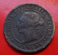 ABOUT FINE  1897 CANADA ONE CENT STRONG DETAILS ON VICTORIA RIM DINGS