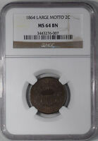 1864 TWO CENT - LARGE MOTTO NGC MINT STATE 64 BN, PREMIUM QUALITY