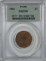 1864 TWO CENT PIECE PCGS MINT STATE 65 RB, OGH, PREMIUM QUALITY