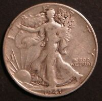 CIRCULATED WALKING LIBERTY HALF DOLLAR COIN 1941 D
