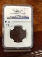 LY FINE 1845 STRAITS CENT NGC XF 40 DETAILS  COIN BRONZE
