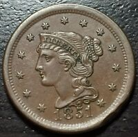 1851 BRAIDED HAIR LARGE CENT     MAKE US AN OFFER  Y4113