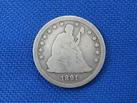 1891 U.S. SEATED LIBERTY SILVER QUARTER COIN