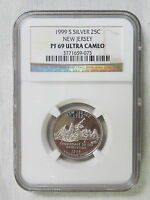 1999 S SILVER PROOF NEW JERSEY STATE QUARTER   NGC PF 69 ULTRA CAMEO 073