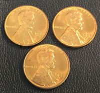 BEAUTIFUL RED BRILLIANT UNCIRCULATED 1942 1953 1957 D LINCOLN WHEAT PENNY SET BU