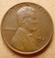 LINCOLN WHEAT CENT 1924 D  XF LY FINE  NICE OM1633