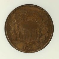 1865 TWO CENT PIECE 2C NGC CERTIFIED MINT STATE 65 BN BROWN GRADED COPPER COIN
