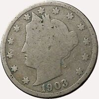 1903 LIBERTY HEAD NICKEL 5 CENT UNITED STATES OF AMERICA USA ANTIQUE COIN I43545