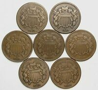 LOT OF 7 1864-1870 COPPER 2C TWO CENT PIECES FINE LARGE MOTTO 55824
