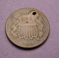 UGLY COIN CONTEST ENTRY  1865 2 CENTS   AA2759